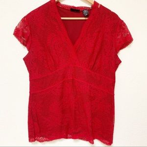 New York & Company | Red Lace Top XL